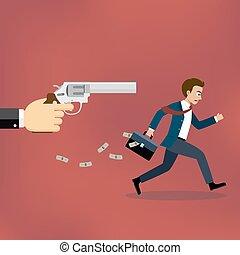 Businessman running away from gunman. - Businessman running...