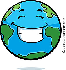 Earth Smiling - A cartoon planet Earth happy and smiling