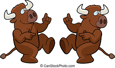 Buffalo Dancing - A happy cartoon buffalo dancing and...