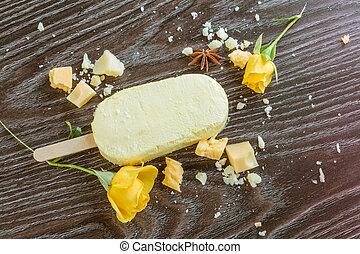 Lemon ice cream on wooden table