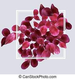 Romantic background with red, pink rose petals