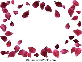 Abstract background with flying pink, red rose petals....