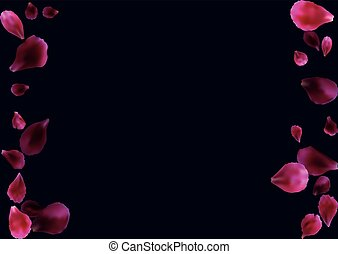 Abstract background with flying pink, red rose petals.