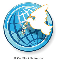 Dove and globe - Illustration, white dove on background of...