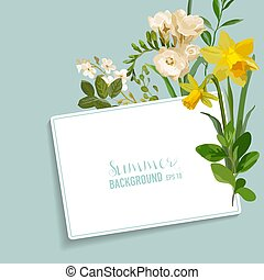 Vintage Spring Floral Card with a Tag for your Text. Colorful Flowers Graphic Design in vector