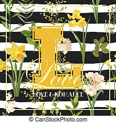 Vintage Summer and Spring Flowers Graphic Design for...