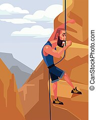 Happy smiling man character climbing on the rock. Extreme sport. Vector flat cartoon illustration