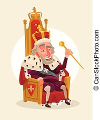 Happy smiling king man character sits on the throne. Vector...