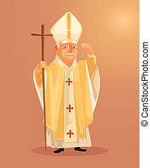 Happy smiling catholic priest mascot character dressed in...