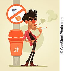 Bad man character smoking under sign no smoke. Vector flat...