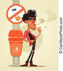 Bad man character smoking under sign no smoke. Vector flat...