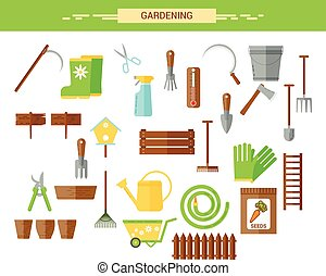 Gardening work tools flat icons set. Equipment for working...