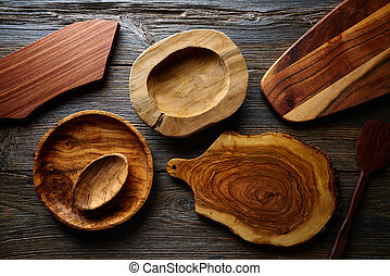 Wooden kitchenware wood board and plates