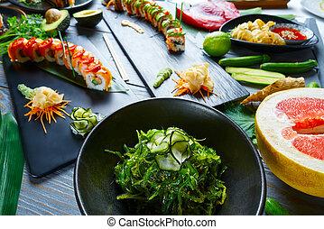 Asian Japan Sushi varied recipes with algae and Edamame