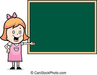 Child Chalkboard - A happy cartoon child student at a...