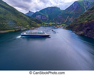 Cruise Ship, Cruise Liners On Sognefjord or Sognefjorden,...