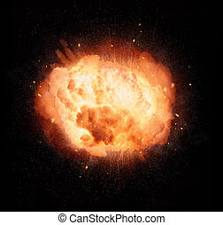 Realistic fiery explosion over on black background -...