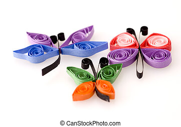 Paper Quill Objects with Butterfly and Dragonfly.