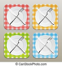 Dinner place setting icon set. Realistic white plate with silver fork and spoon on a checkered tablecloth background - red, yellow, green, blue. Design template in EPS10.