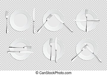 Vector realistic cutlery and signs of table etiquette....