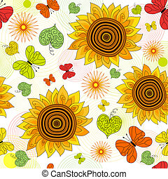 Repeating floral vivid pattern - Decorative seamless floral...