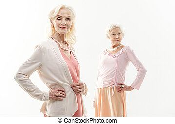Stylish old women showing their elegance - Look at us....