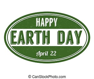 Happy Earth Day sign or stamp