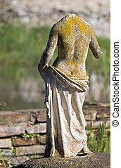 Ancient Dion at Greece - Greek archaic statue torso found at...