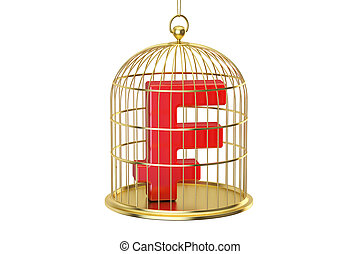 Birdcage with franc currency symbol inside, 3D rendering -...