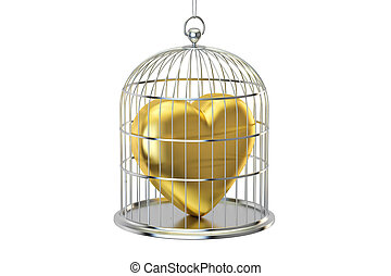 Birdcage with golden heart, 3D rendering isolated on white...