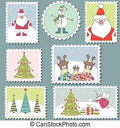 Set of colorful Christmas Postage