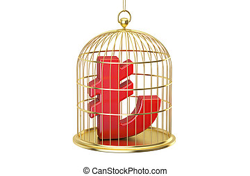 Birdcage with lira currency symbol inside, 3D rendering...