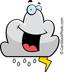 Storm Cloud Smiling - A cartoon storm cloud smiling and...