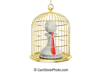 Birdcage with office clerk inside, 3D rendering isolated on...