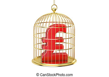 Birdcage with pound sterling currency symbol inside, 3D rendering