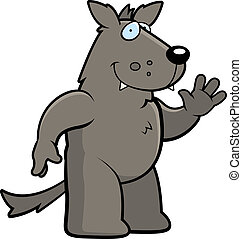 Wolf Waving - A happy cartoon wolf waving and smiling.
