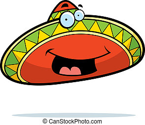 Sombrero Smiling - A cartoon Mexican sombrero smiling and...