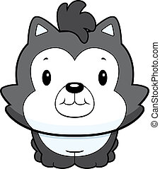 Baby Wolf - A happy cartoon baby wolf standing and smiling.