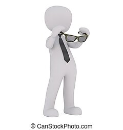 3d man with sun glasses 60