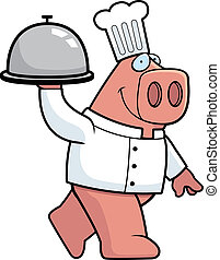 Pig Chef - A happy cartoon pig chef with a serving tray