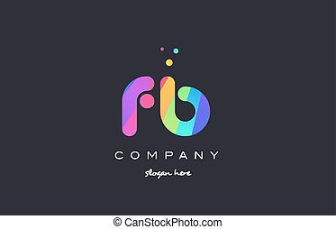 fb f b colored rainbow creative colors alphabet letter logo...