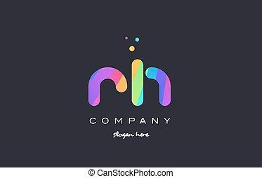 rh r h colored rainbow creative colors alphabet letter logo...