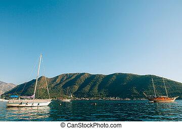 Wooden sailing ship. Montenegro, Bay of Kotor. Water...