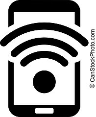 Wi-Fi Hotspot Icon. Flat Design. Mobile Devices and Services...