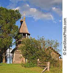 Ancient wooden chapel in north Russia