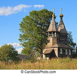 Old wooden chapel in north Russia