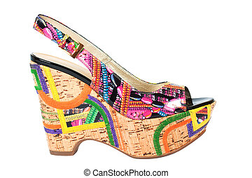 Wedge-heeled woman shoe on the white - Wedge-heeled woman...