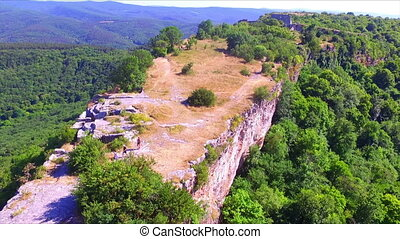 Aerial view on Mangup Kale ruined fortress on plateau,...