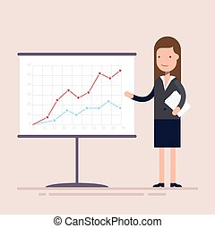 Businesswoman or an employee with documents in his hands demonstrates the income schedule. Presentation of revenue growth for investors.