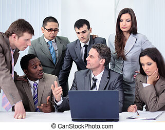 Business and office concept - smiling business team working